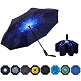 NOORNY Inverted Umbrella Double Layer Automatic Folding Reserve Umbrella Windproof UV Protection for Rain Car Travel Outdoor Men Women Starry Sky