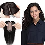 Clip in Topper for Women Upgraded 120% Density Remy Human Hair Silk Base Top Hairpieces with no Bangs Replacement Crown Wiglet 44g Short Straight 14''/14inch #1B Off Black
