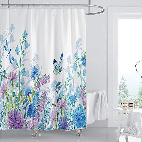 Cortina de ducha con 12 ganchos, diseño de flores y mariposas, color azul y lila, simple y moderno, poliéster resistente al agua, juego de decoración de baño, 180 x 180 cm, azul y lila