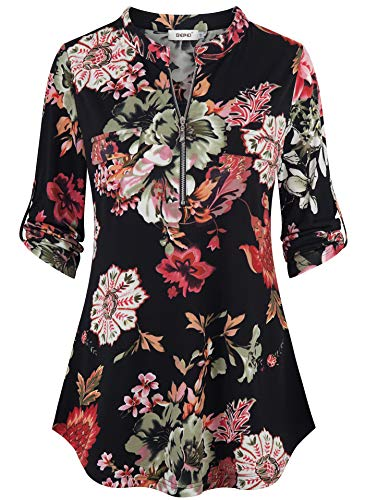 Bepei Chiffon Blouses for Women,Dressy Floral 3/4 Cuffed Sleeve Zip up V Neck Top Ladies Casual Loose Fit Latest Blouson Tunic Summer Multicolor Pregnant Shirt Plus Size Black Armygreen Red 2XL