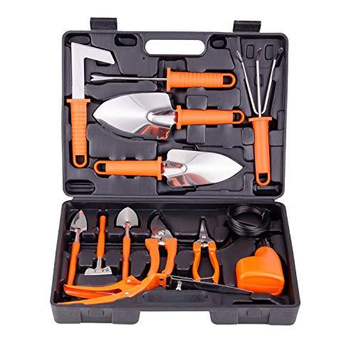 BNCHI Gardening Tools Set,13 Pieces Stainless Steel Garden Hand Tool, Gardening Gifts for Women,Men,Gardener (Orange)
