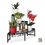 Relaxdays Blumentreppe aus Metall, Eck Blumenregal mit 3 Ebenen, halbrund, für den Garten, Balkon...