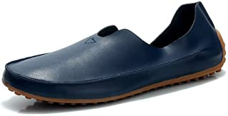 QinMei Zhou Men and Women Driving Loafer Casual Wind Super Fiber Leather Large Size Breathable Boat Moccasins (Color : Blue, Size : 8.5 UK)