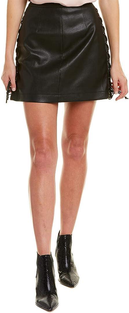 BCBGMAXAZRIA Women's Lace Up Pleather Mini Skirt