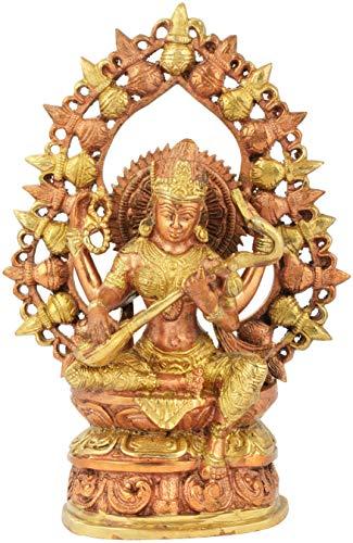 Exotic India Goddess Saraswati with Prabhavali Made of Kalash - Brass Statue - Color Copper Gold Color