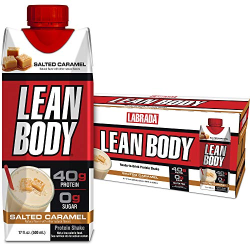 Lean Body Ready-to-Drink Salted Caramel Protein Shake, 40g Protein, Whey Blend, 0 Sugar, Gluten Free, 22 Vitamins & Minerals, (Recyclable Carton & Lid - Pack of 12) LABRADA