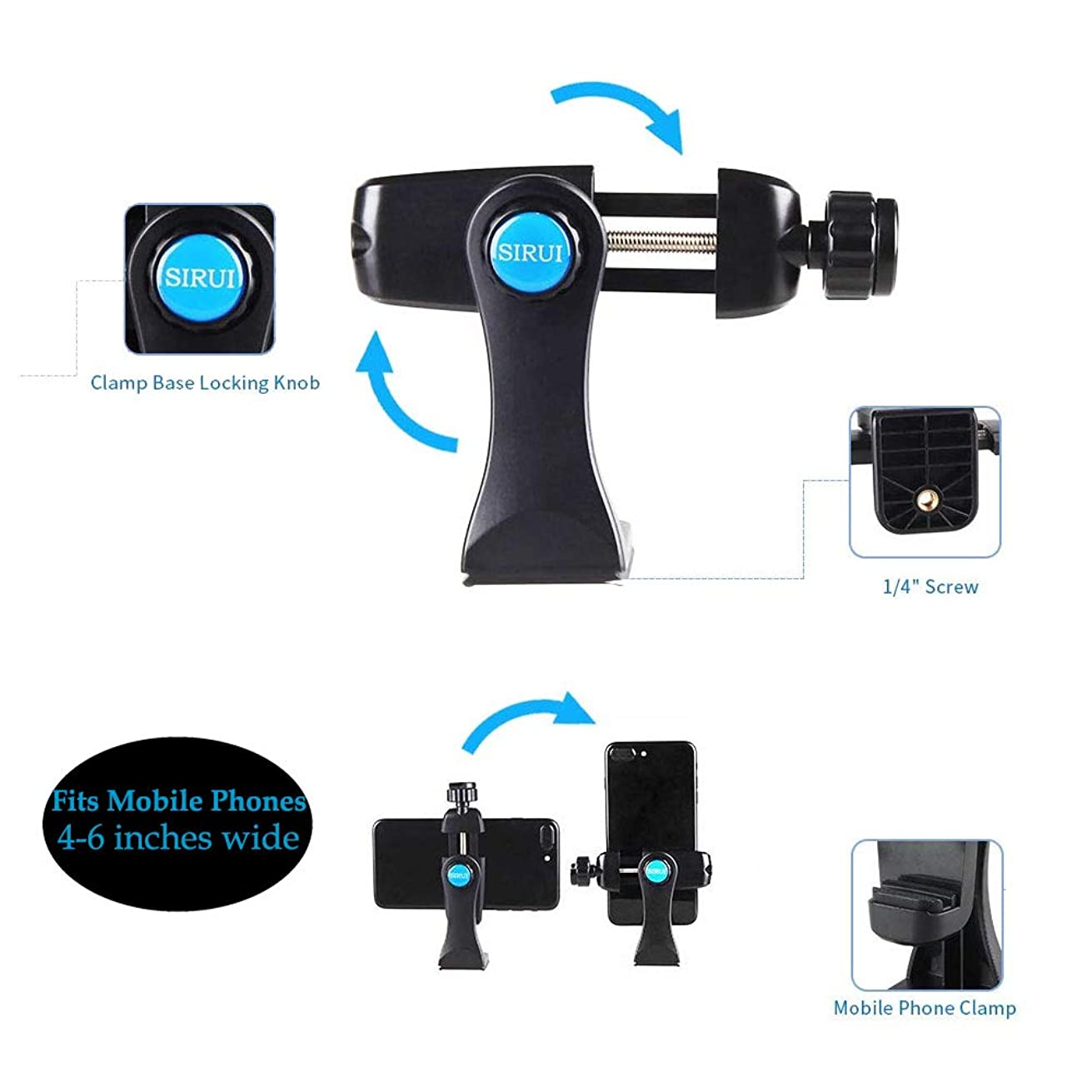 Sirui TSH-01KX-1 Smartphone Tripod/Mobile Phone Clamp (Multi-Directional) for iPhone Xs,X,XR,6S,6,7,8,Samsung Galaxy Note 9 Note 8,S8,S9,S10e,LG G8 (Fits Mobile Phones 4 to 6 Inches Wide)