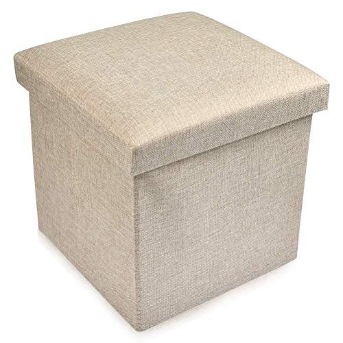 Ducomi Puf cubo plegable reposapiés, taburete contenedor de mezcla de lino, baúl contenedor para juegos, sillón contenedor para salón, decoración italiana (beige, 30 x 30 x 30 cm)