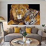 ganlanshu Pintura sin Marco Arte Abstracto Moderno Mural Lienzo Tigre león para Sala de Estar decoración del hogarZGQ3298 50X70cm