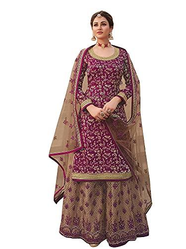 Prija Collection Ready to Wear Indian Pakistani Ethnic Wear Wedding Wear Sharara Style Salwar Suit for Women (Rani Pink, S)