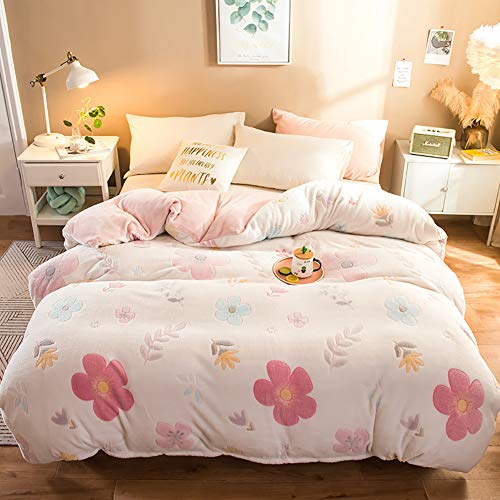 FGDSA Duvet Sets Double Bed, 4pcs Set Stripe Duvet Cover Flat Sheet Pillowcase Thickening Queen King