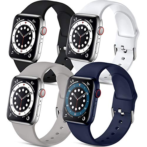 Muranne 4 Pack Sport Bands Compatible with Apple Watch Band 40mm 38mm iWatch SE & Series 6 & Series 5 4 3 2 1 for Women Men, Black Gray Midnight Blue White, S/M