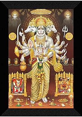 SAF 'Panch mukhi Hanuman' UV Teatured Digital Reprint Framed Painting (11 inch X 14 inch) SANFK68