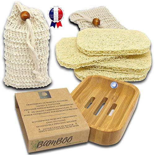 JaMoonLbv JmL® Marca Francesa - 1 Jabonera de Ducha de Bambú Natural + 4 Soportes de PVC Ecológico y Ahorro de Jabón + 2 Redes de Sisal Orgánico para Masajes Exfoliantes + Cepillos de Limpieza