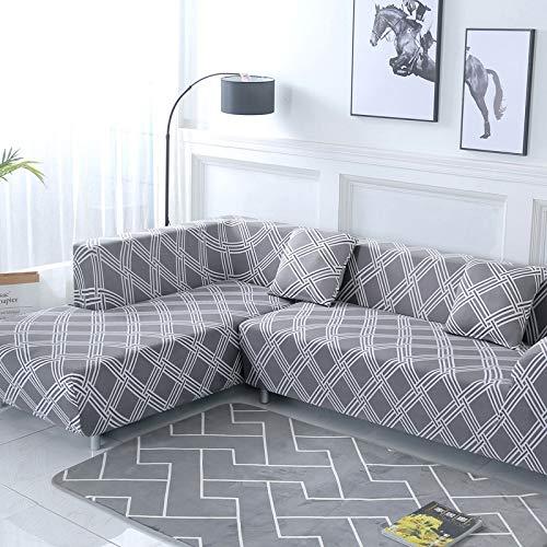 WXQY Patrón geométrico en Forma de L combinación Funda de sofá sofá Toalla Sala de Estar Todo Incluido Cubierta de sofá a Prueba de Polvo Tela A3 3 plazas