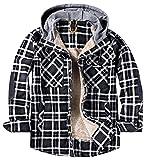 Yukirtiq Camisa de botones de leñador con forro de piel para hombre, de manga larga, de franela a cuadros, acolchada, forro polar cepillado, sherpa, gris, XXL