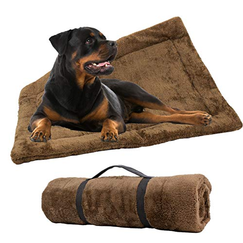 Downtown Pet Supply Self-Heating Thermal Crate Mats with Handle, Warming Kennel Pads for Dogs, Cats, and Pets (Brown, Large)