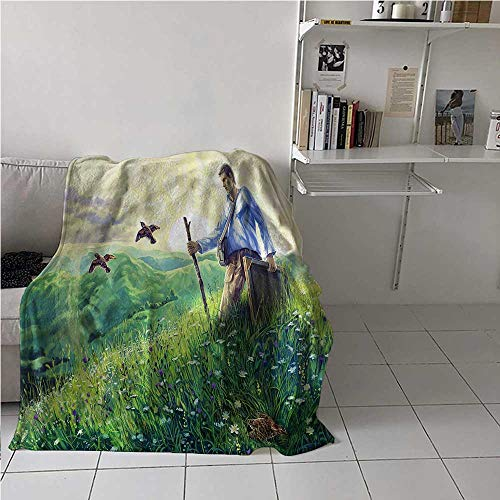 carmaxs Quail Kids Throw Blanket Artist in Country Landscape Bed Blanket for Couch Bed Sofa, 60 x 90 Inches