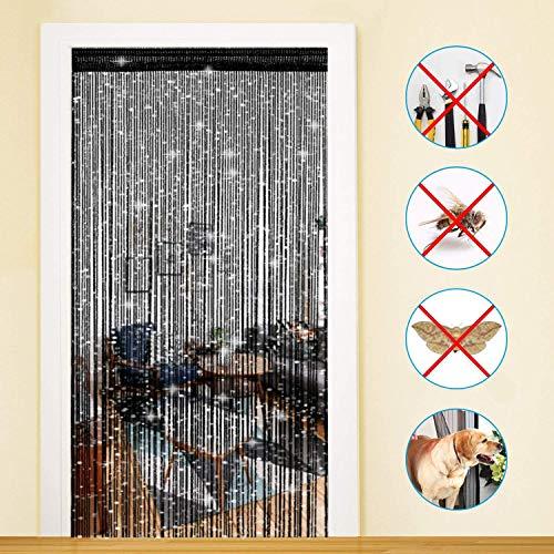 Timere Door String Curtain Tassel Curtain - Partition Door Curtain String Curtain Door Screen Panel Home Decor Window Divider Tassel Screen 90x200cm (1 Pack, Black)