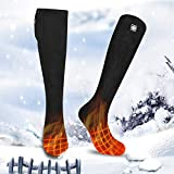 Calcetines calentados lavables para hombres y mujeres, 3 ajustes de calefacción, batería recargable, calcetines térmicos, para exteriores, interiores, camping, pesca, ciclismo, negro-S
