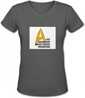 トップス スタートレックのノーマルパラメータ Women V Neck T-Shirts レディーズ Tシャツ