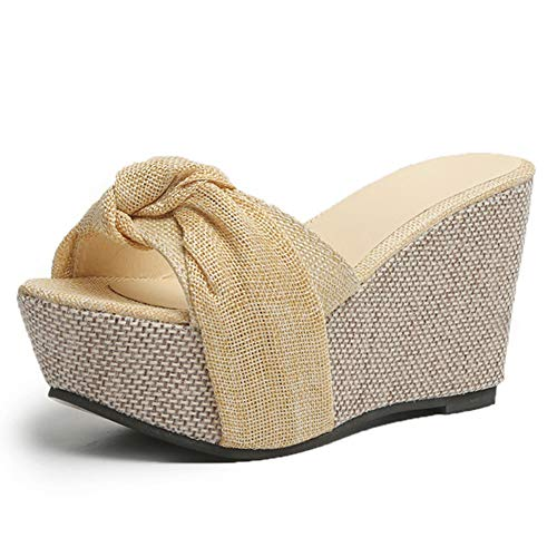 Fanville 2020 Dames Plateausandalen Casual Beach Wedge Slipper Twisted Knot Design Plateau Wedges Sandalen High Thick Sole Summer Slippers 41 EU beige