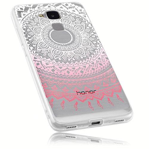 mumbi Hülle kompatibel mit Honor 5C Handy Case Handyhülle mit Motiv Mandala rosa, transparent