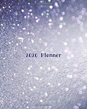 2020 Planner: Weekly Basic Large Planner : 52 Week Agenda : Extra Dot Grid Pages: Paperback Cover : Blue Gray Glitter-Inspired