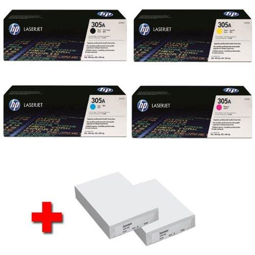 HP LaserJet PRO 400 colour cartuchos M 475 DN (305 A) CE410A (negro)/CE411A (cian)/CE412A (amarillo)/CE413A (magenta) + 2 x 500 hojas de papel láser DIN A4 - 80 G/m²