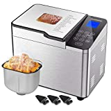 15-in-1 Bread Machine with Nonstick Ceramic Pan, Rozmoz 2LB Automatic Bread Maker with Gluten Free Setting, Stainless Steel Breadmaker, Sloped Touch Screen, Time Delay & Keep Warm, 7 Accessories