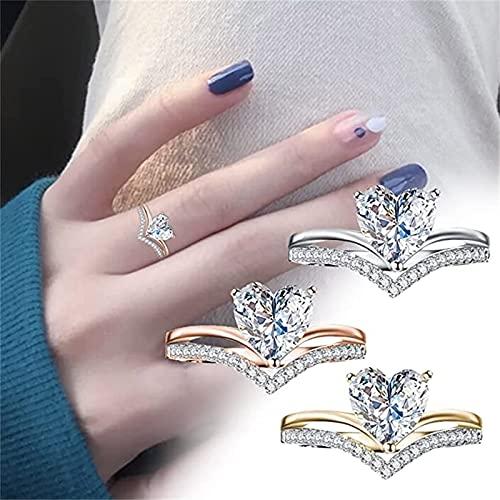 Anillo de diamantes de circonita en forma de corazón simple para mujer,anillo de dedo para mujer con circonita cúbica en forma de corazón de amor,anillos de promesa para mujeres,regalos(oro rosa 6)