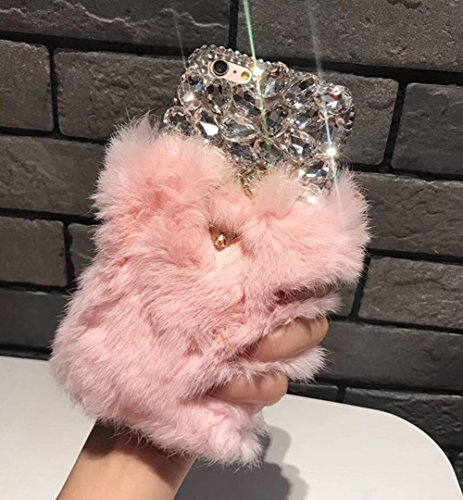 Losin Plush Case Compatible with Apple iPhone 7 Plus/iPhone 8 Plus 5.5 in Fashion Luxury Cute Fuzzy Furry Plush Fluffy Fur Bling Diamond Gemstone 3D Wings Metal Ring Stand Holder Soft TPU Back case