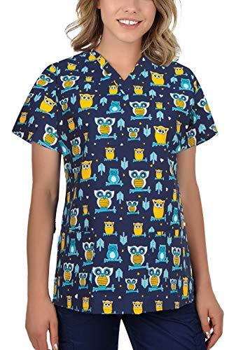 B-well Bambina - Casaca de mujer de manga corta con cuello en V, para enfermeras, dentistas, médicos, estudiantes y veterinarios búhos L
