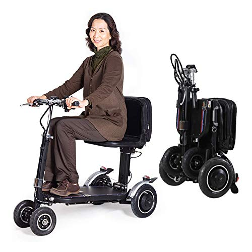 N/Z Life Equipment 4 Wheel Mobility Scooter Electric Power Mobile Wheelchair for Seniors Adult Foldable Mobility Scooter for Seniors Outdoor Recreation (Black)