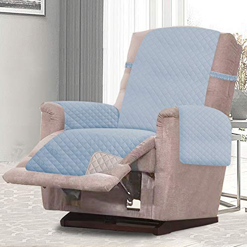 RHF Reversible Recliner Chair Cover, Chair Cover, Recliner Cover, Pet Cover for Chair, Furniture Protector, Machine Washable, Double Diamond Quilted(Recliner-Small:Light Blue/Cream)