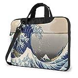 Estuche para computadora portátil Sea Wave de Estilo japonés, Bolso de Mano para computadora de 14 Pulgadas, maletín de Mensajero para Viajes de Negocios