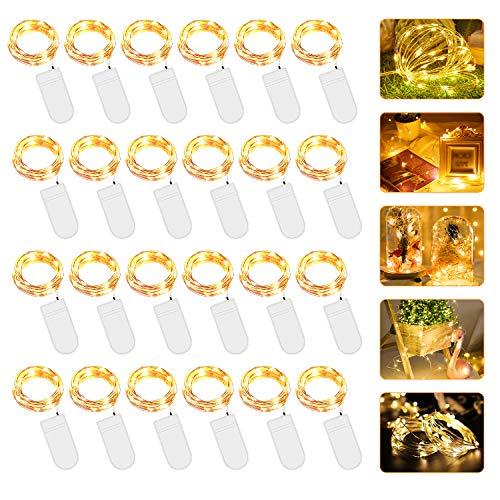 Micro LED Lichterkette mit Batterie Betrieb Auf 24 Stück 2 Meter 20er IP65 Wasserdicht Drahtlichterkette für Party, Garten, Weihnachten, Halloween, Hochzeit, Beleuchtung Deko