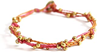 Wakami Beaded Bracelets For Women | Pink Bracelets For Women | Wax Coated String, 3 Strands Waterproof, Fair Trade Jewelry...