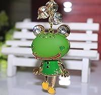 ドロップカラー かわいい キラキラ カエル キーホルダー (グリーン)
