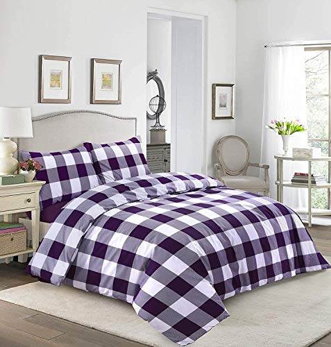 PORTER AND LAMBERT Check Duvet Cover- 100% Rich Soft Poly Cotton | Single Double Quilt Bedding Set with Pillow case Pair | Easy Care Bed Sets Checked Print Covers (Plum, Double)