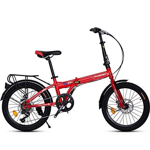 HYN Erwachsene Faltbare Variable Speed Fahrrad, vorne und hinten Scheibenbremse Typ Stable Brake, Hartstahl Faltrahmen, 7 Geschwindigkeit, Schwarz, Rot, Orange, Weiß,Rot
