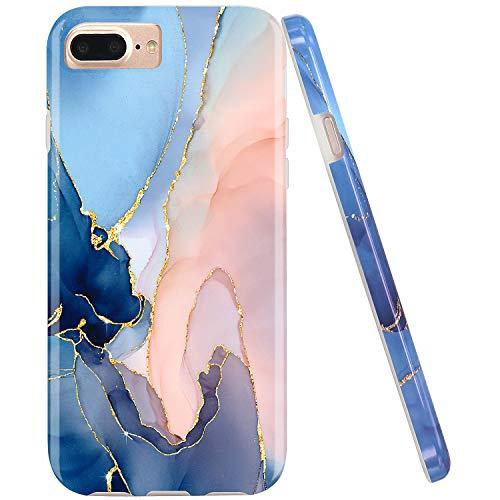 JAHOLAN Gold Glitter Sparkle Marble Design Clear Bumper TPU Soft Rubber Silicone Phone Case Compatible with iPhone 7 Plus/8 Plus/6 Plus/6S Plus - Purple