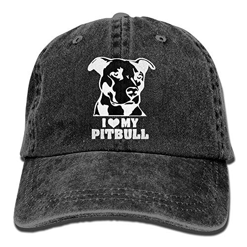 Unisex Baseball Cap Denim Fabric Hat I Love My Pitbull Adjustable Snapback Cricket Cap Gorgeous 7193
