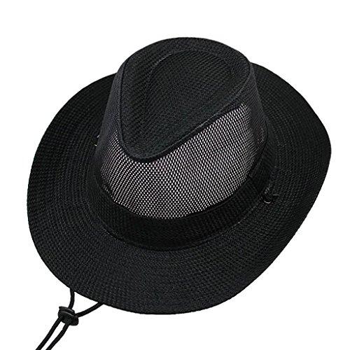 MMWYC Cappello da Cowboy Occidentale da Uomo in Mesh Traspirante Cappello in Paglia Traspirante Pieghevole da Uomo Large Climbing Cappello da Pesca in Paglia da Spiaggia con Cinturino al Mento