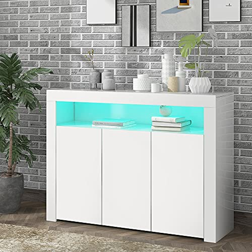 Mingfuxin Aparador de alta luminosidad con luces LED, mueble de almacenamiento moderno de madera de 2 puertas con mando a distancia para entrada de cocina y pasillo (3 puertas)