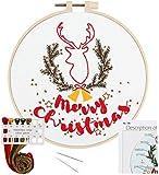 Stickerei-Starter-Set für Erwachsene, Anfänger, Kreuzstich Kits mit Blume, Weihnachtsbaum,...