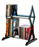 Atlantic Mitsu 2-Tier Media Rack - 52 CDs or 36 DVD/BluRay/Games in Clear Smoke Finish, PN64835193