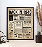 Katie Doodle 75th Birthday Decorations for Men or Women - Class Vintage Table Decor - Great 75th Birthday Gifts for Men or 75th Birthday Gifts for Women - Includes 8x10 Back in 1946 Print [Unframed]