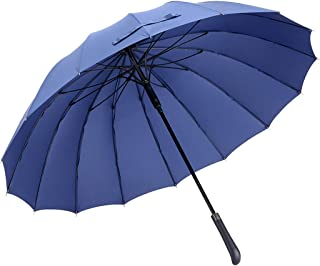 Household Umbrella Large Reinforced Automatic Weatherproof Umbrella Retro Men's Business Umbrella Black, Blue Optional HYBKY (Color : Blue)