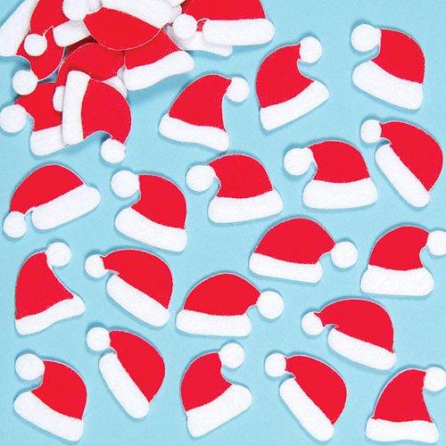 Cappelli di Babbo Natale in Feltro Adesivo Baker Ross (confezione da 1)- Artigianato e progetti artistici natalizi per bambini, cartoline, biglietti, regalini e decorazioni.